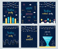 Sistema del vector de tarjetas de la invitación del tejado, del cóctel y de la fiesta de cumpleaños con las guirnaldas ligeras Foto de archivo