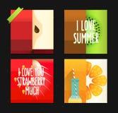 Sistema del vector de tarjetas de verano creativas Carteles con la manzana, el kiwi y la naranja estilizados divertidos de las fr Imagen de archivo libre de regalías