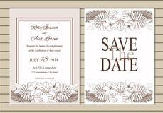 Sistema del vector de tarjetas de la invitación con los elementos de las flores que se casan el co Fotografía de archivo