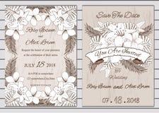 Sistema del vector de tarjetas de la invitación con los elementos de las flores que se casan el co Foto de archivo libre de regalías