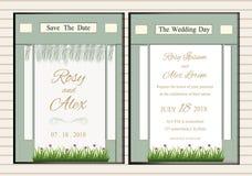 Sistema del vector de tarjetas de la invitación con los elementos de las flores que se casan el co Fotos de archivo libres de regalías
