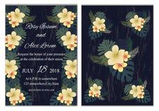 Sistema del vector de tarjetas de la invitación con los elementos de las flores que se casan el co Imagen de archivo