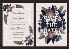Sistema del vector de tarjetas de la invitación con los elementos de las flores que se casan el co Foto de archivo