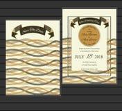 Sistema del vector de tarjetas de la invitación con los elementos que se casan la colección Foto de archivo libre de regalías