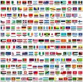 Sistema del vector de todas las banderas de los estados soberanos de los países del mundo, dispuesto en orden alfabético stock de ilustración