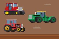 Sistema del vector de tractor de oruga y de tractores de granja rodados ilustración del vector