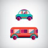 Sistema del vector de transporte - coche y autobús Imagen de archivo libre de regalías