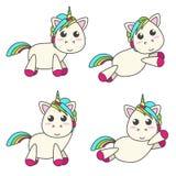 Sistema del vector de unicornios en cuatro diversas actitudes Imagenes de archivo