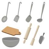 Sistema del vector de utensilios de la cocina en el fondo blanco Stock de ilustración