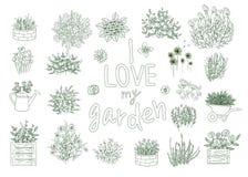 Sistema del vector de utensilios de jardiner?a blancos y negros ilustración del vector