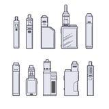 Sistema del vector de Vaping Esquema de los dispositivos de Vape en el fondo blanco Fotografía de archivo