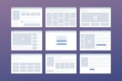 Sistema del vector de ventanas con la plantilla de la página del sitio web Concepto de medios sociales: tienda en línea, inicio d Fotos de archivo