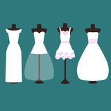 Sistema del vector de vestidos de boda en blanco y rosa stock de ilustración