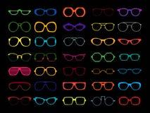 Sistema del vector de vidrios coloreados Retro, friki Imágenes de archivo libres de regalías
