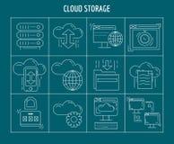 Sistema del vector del almacenamiento de la nube de iconos lineares Fotos de archivo libres de regalías