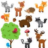 Sistema del vector del arbolado y de Forest Animals lindos Fotografía de archivo libre de regalías