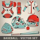 Sistema del vector del béisbol Imagen de archivo libre de regalías