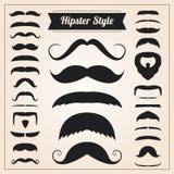 Sistema del vector del bigote del estilo del inconformista stock de ilustración