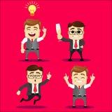 Sistema del vector del carácter del encargado o del hombre de negocios Imágenes de archivo libres de regalías