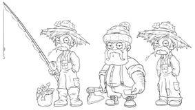 Sistema del vector del carácter del leñador del granjero del pescador de la historieta stock de ilustración
