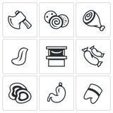 Sistema del vector del carnicero Shop Icons Hacha, salchicha, jamón, lengua, venta, salchichas, corte, estómago, pie del cerdo ilustración del vector