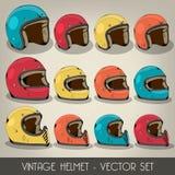 Sistema del vector del casco del vintage Foto de archivo libre de regalías