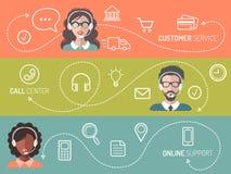 Sistema del vector del centro de atención telefónica, servicio de atención al cliente, banderas en línea de la ayuda en estilo pl stock de ilustración