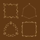 Sistema del vector del cepillo simple de la mano del monograma dibujado Imagen de archivo libre de regalías