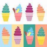 Sistema del vector del cono de helado Imagenes de archivo