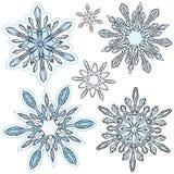 Sistema del vector del copo de nieve Fotografía de archivo libre de regalías