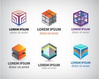 Sistema del vector del cubo geométrico colorido 3d Imagen de archivo