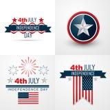 sistema del vector del Día de la Independencia del americano del 4 de julio libre illustration