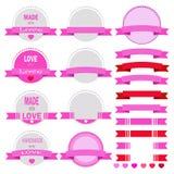 Sistema del vector del día de tarjetas del día de San Valentín artístico Imagen de archivo