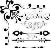Sistema del vector del diseño caligráfico Foto de archivo