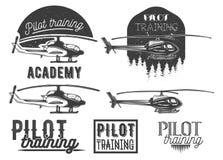 Sistema del vector del emblema de la escuela del helicóptero, etiqueta stock de ilustración