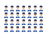 Sistema del vector del emoticon del policía aislado en el fondo blanco Fotografía de archivo libre de regalías