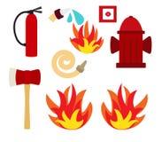 Sistema del vector del fuego Foto de archivo libre de regalías