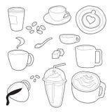 Sistema del vector del garabato del café Fotos de archivo libres de regalías