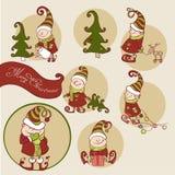 Sistema del vector del gnomo de la Navidad Fotos de archivo