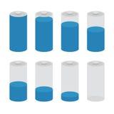 Sistema del vector del icono de la batería aislado en el fondo blanco Los símbolos de la batería cargan llano, por completo y pun stock de ilustración
