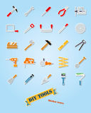 Sistema del vector del icono de la etiqueta engomada del surtido de las herramientas de DIY libre illustration