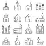 Sistema del vector del icono de la iglesia Fotografía de archivo libre de regalías