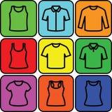 Sistema del vector del icono de las camisetas Imagen de archivo libre de regalías