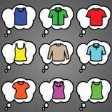 Sistema del vector del icono de las camisetas Imagenes de archivo