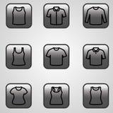 Sistema del vector del icono de las camisetas Foto de archivo libre de regalías