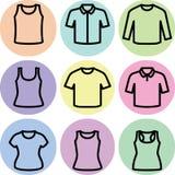 Sistema del vector del icono de las camisetas Fotos de archivo libres de regalías