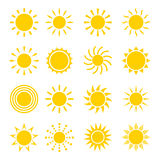 Sistema del vector del icono de Sun Fotografía de archivo libre de regalías