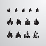 Sistema del vector del icono del fuego Imagen de archivo libre de regalías