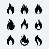 Sistema del vector del icono del fuego Imágenes de archivo libres de regalías