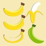 Sistema del vector del icono del plátano Foto de archivo libre de regalías